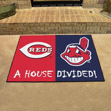 "MLB - Reds - Indians House Divided Rug 33.75""x42.5"""