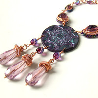Purple copper necklace, indian mandala orinetal polymer clay statement jewelry