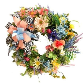 Wildflower Wreath | Summer Wreath | Country Home Decor | Farmhouse Decor | Front Door Wreath | Spring Wreath | Bridal Shower | Wedding