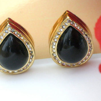 Vintage Christian Dior Earrings Black Tear Drop by NewToYouJewelry