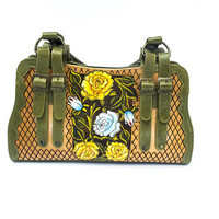 Trendy hand-painted engraved leather handbag with fine detailing