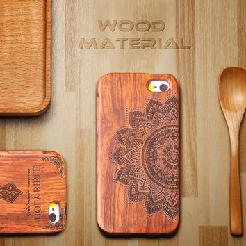 Genuine Wood Case For iPhone 7 7 Plus Cover Retro Carving Skull Embossed Wooden Phone Cases Top Quality Durable Shell