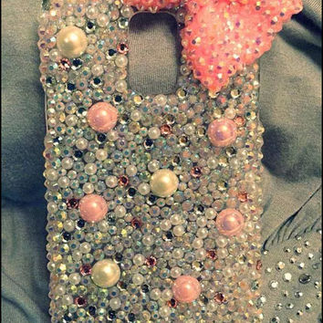 Pink Pearl Bow bling phone case, girly fashion case