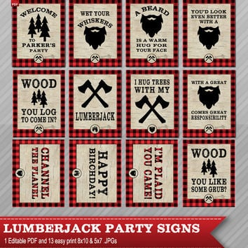 Lumberjack party signs - Lumberjack party decor - Lumberjack Signs - Lumberjack birthday decorations - A beard is a warm hug