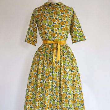 50s Novelty Print Shirtwaist Dress