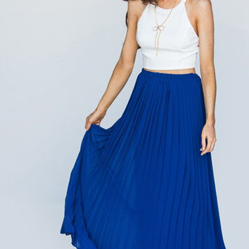 Deets in the Pleats Maxi Skirt - Royal Blue