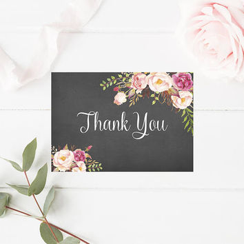 Printable Floral Wedding Thank You Note, Rustic Shabby Chic Watercolor Thank You Card, Printable Thank You Card, Floral Thank You Card