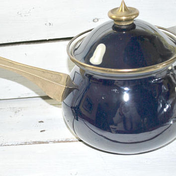 Enamel Cooking Pot , Cobalt Blue , Covered Lidded Pot , Cooking Pan , 70s