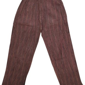 Bohemian Gypsy Chic Unisex Yoga Pant Cotton Stripes Print Loose Trouser With Elastic Waistband Washed Pants With Pockets