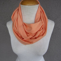 Peach Infinity Scarf - Soft Orange Cowl - Creamsicle Orange Jersey Scarf