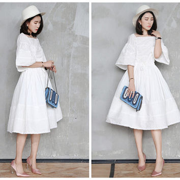 white dress,half sleeve,victorian dress.edwardian dress,Antique style,elegant,high fashion,knee length,for summer.--E0270