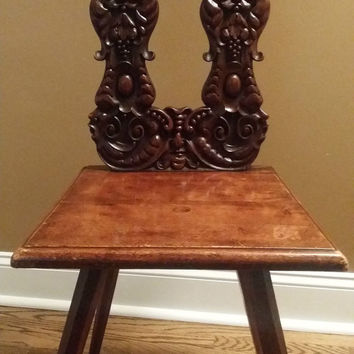 Antique Hand Carved Chair Face Faces Wings Art Deco Decor Accent Chair Vintage