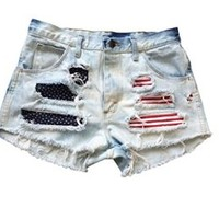Shredded American Flag Gap Jeans Ripped Frayed Low Rise Denim USA Shorts