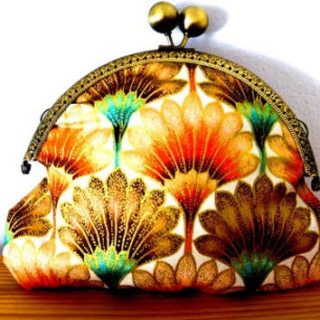 Iridescent/art nouveau/pink/orange/brown/gold/turquoise/metallic/tulip/small/clasp/clutch bag