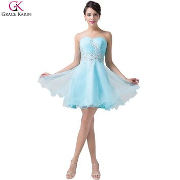 Grace Karin Cocktail Dresses Short 2017 New Arrival Turquoise Tulle Prom Dress Wedding Party Dinner Sexy Women Ball Gowns 6178
