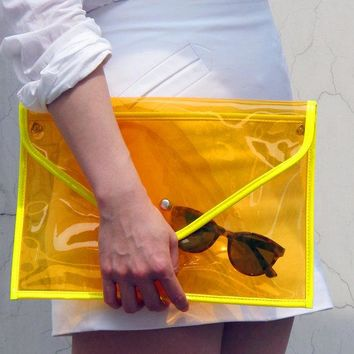 Neon Day Glo Oversize Clear Envelope Clutch Purse Bag Handbag   Cosmic Jelly Orange Transparent   Women Ladies   Handmade