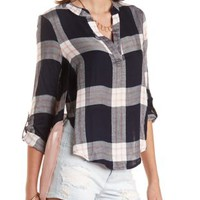 Navy Combo High-Low Chiffon-Back Plaid Top by Charlotte Russe