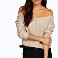 Natalie Slash Neck Crop Fisherman Jumper | Boohoo