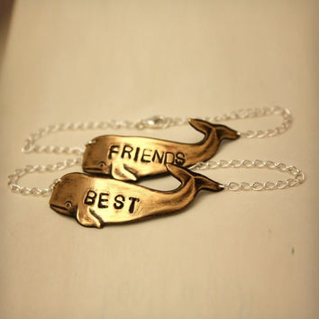 Brass Whale Best Friends Bracelet - Set of 2