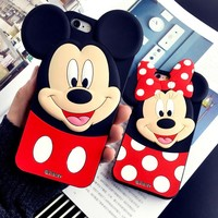 Mickey Minnie Ears Cover For iPhone 4 4s 5 5s 5c 6 6s 6/6s 7/7 plus