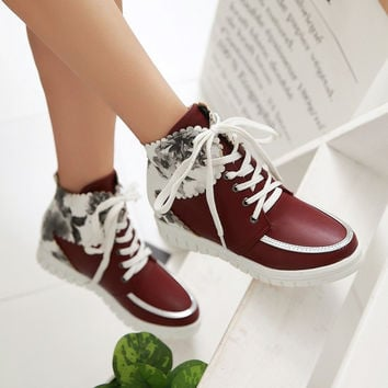 Floral Printed Lace Up Women Ankle Boots Sneakers Shoes 1075