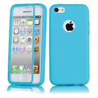 Easygoby Full Scratch Protection Case - Crystal Clear front protector + Slim TPU Back Shell Cover Skin for Apple iphone 5C (2013) ,Blue