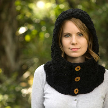 Black Cowl with Hood, Crochet Button Neck Warmer, Hooded Cowl