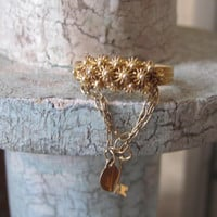 """Antique """"Key to My Heart"""" Charm Dangle Love Token Ring 12k Yellow Gold Filled Sweet Heart Friendship Ring Victorian Ring"""