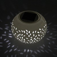 Solar Powered Outdoor Ceramic White& Colour Changing Garden LED Light Table Lamp
