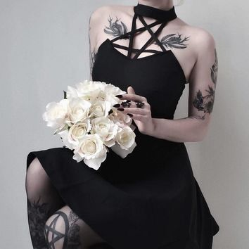 Black Sexy Dress Women Halter Chest Pentagram Hollow Out Summer Vintage Punk Dresses For Gothic Girl Mini Dress
