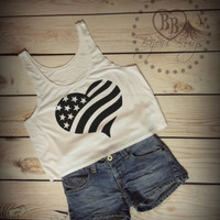 America - Heart - Flag - Fourth of July - Independence Day - Crop Tank Top- Sizes S-XL.
