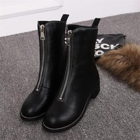 2017  New  Winter Martin Boots British Wind Retro Student Boots Women's Single Boots Rough with Medium Boots