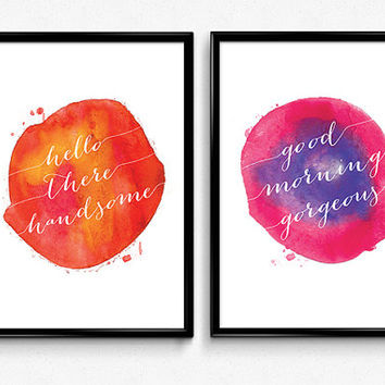 "Wall art set ""Hello there handsome. Good morning gorgeous"". Set of 2, Two piece set posters, Watercolor art print A3, A4 posters"