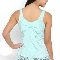 Lace Peplum Tank with High Low Hem and Bow Back