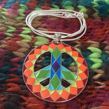 Rainbow Peace Sign 925 Sterling Silver Necklace