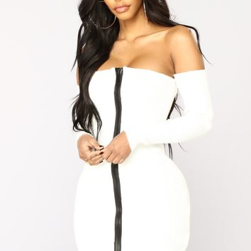 Take A Shot Zipper Dress - Ivory