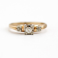 Vintage 14k Yellow & White Gold Diamond Ring - 1940s Size 6 1/2 Two Tone Solitaire Wedding Engagement Fine Flower Motif Jewelry