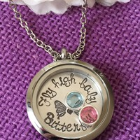 Miscarriage Necklace - Miscarriage Jewelry - Infant loss awareness - Fly high baby butterfly - Mommy of an angel - Floating Locket - gift