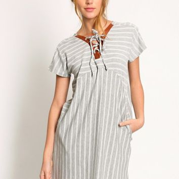 Veneto Striped Lace Up Dress