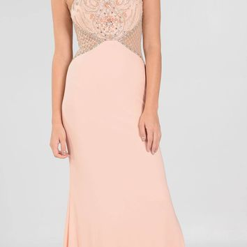 Peach Sheer Bodice High-Scoop Cut-Out Neckline ITY Long Prom Dress