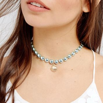 ASOS Mermaid Shell Charm Choker Necklace at asos.com