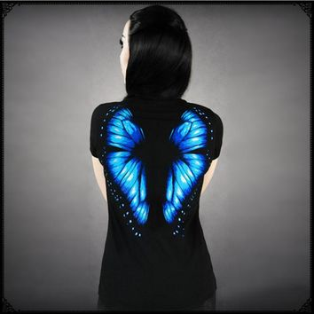 cool fluorescent butterfly wings printed short sleeved t shirt
