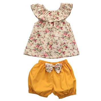 Toddler Infant Baby Girl Clothing Set Outfits Floral Shirt Tops Short Sleeve Flower Shorts Pants 2pcs Set Clothes Baby Girls