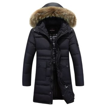 Thick Down Jacket New Long Winter Down & Parkas Warm Fashion Business 90% White Duck Down Jackets And Coats Brand Clothing 185wy
