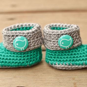 Crochet Baby Booties - Teal Green and Grey Baby Boots - Bird Button - Newborn Baby Girl