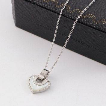 8DESS Bvlgari Heart Women Fashion Plated Chain Necklace