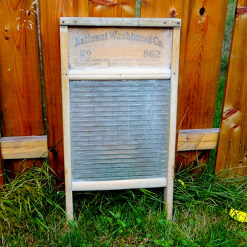 Vintage Glass Washboard by National Washboard Company from the 1940s