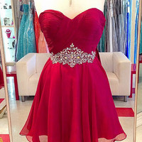 Red Sweetheart Chiffon Crystal Homecoming Dress 2017