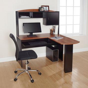 L-Shaped Computer Corner Home Office Desk with Hutch