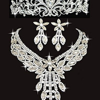 Bridal Wedding Crystal Tiara Crown New Necklace Stud Earrings